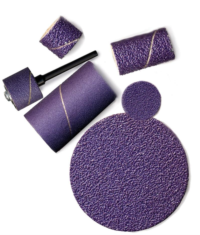 Purple Ceramic Sanding Bands 1/4 Inch dia. x 1/2 Inch long 120 Grit Pack of 10 - A-4914-10