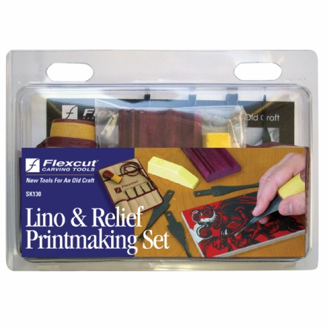 Printmaking Set Lino and Relief with 11 Pocket Tool Roll SK130