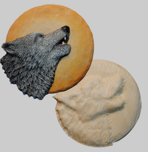 Roughout Relief Wolf on Moon