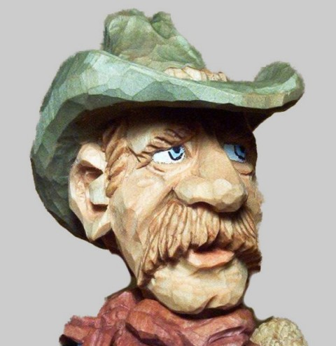 Pattern Caricature Cowboy Bust