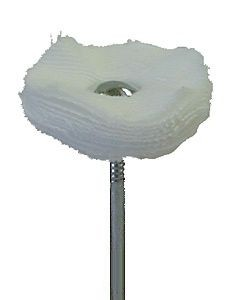 Fine Muslin Buff Loose No Stitching 1 Inch dia. x 1/4 Inch thick Mounted with 3/32 Inch Shank - A-5520