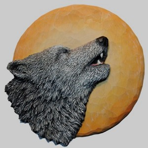 Pattern Relief Wolf on Moon