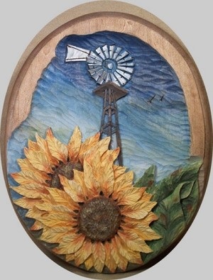 Pattern Relief Windmill 2 with Sunflowers