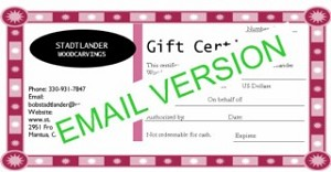 Gift Certificate $25 Email delivery