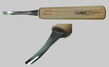 Gouge, Bent, 1/4 inch #7 Sweep, 4.5 Inch Handle