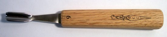 Gouge, Bent, 1/2 inch #9 Sweep, 4.5 Inch Handle