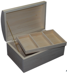 Box Round Top Jewelry Large with Tray 12 x 7 3/4 x 5 3/8 inch
