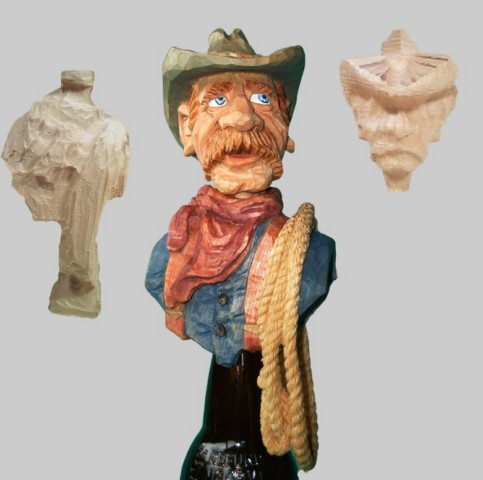 Roughout Bottlestopper Cowboy with Lasso