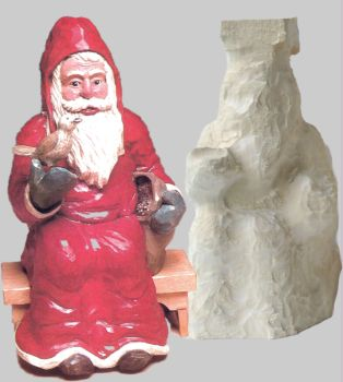 Roughout, Santa holding Bird