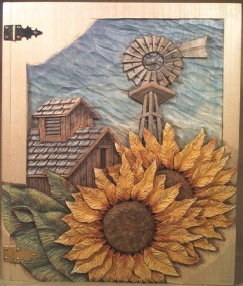 Pattern Relief Windmill 3 with Barn and Sunflowers